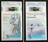 Northern Ireland Polymer Plastic Banknote 5 Pounds 2018 UNC, Ulster Bank