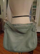 COACH 100% full grain cowhide leather messenger shoulder bag stone blue F14707