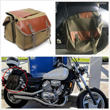 Army Green Big Capacity Motorcycles Saddle Canvas Bag Storage Pocket 40X15X30CM