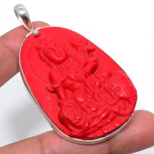 """Carved Red Coral Lord Buddha Ethnic 925 Sterling Silver Pendant 2.93"""" S2622"""