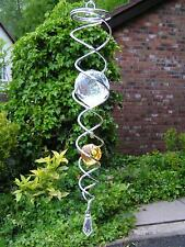 RRP £21.99 - Iron Stop 34cm SILVER AMBER CRYSTAL TWISTER Hook Ornament Garden