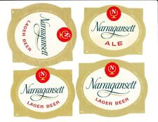 Four (4) different NARRAGANSETT beer labels from RHODE ISLAND !! (Group #2)