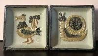 "2 Vintage retro MCM Square Ashtray Dish Tray Pottery JAPAN Peacock & Snail 3.75"""