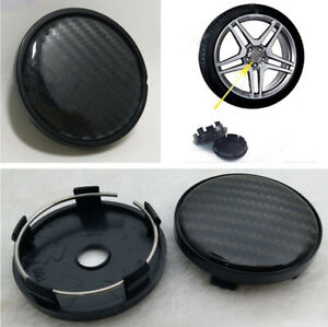 4x Black Carbon Fiber Look Center Wheel Hub Caps Decoration Cover 60mm/58mm Car