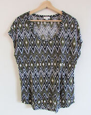 Witchery Sz S Linen Knit Olive Black White Aztec Tribal Print Dolman T Shirt Top