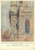Vintage 1948 Art Postcard, Porch of St Philps Church Birmingham by David Cox 83S