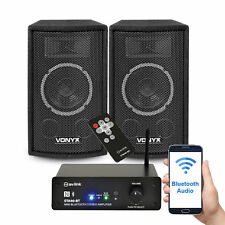 "2x Vonyx 6"" Bedroom Home Party Speakers Mini Wireless Bluetooth Amplifier 300W"