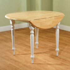 White Round Drop-Leaf Dining Table With Leaves Kitchen Room Furniture Wood New