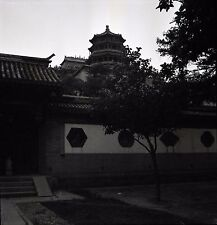 Chinese Buildings and Pagoda - 1930s China - Vintage B&W Negative