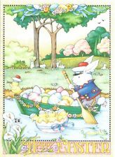 Mary Engelbreit-Happy Easter Bunny Sailor Eggs Chicks Rowboat River-Card-New!