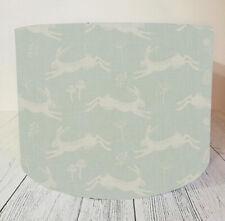 Drum Lampshade Handmade with Fryetts Jump Hare Duck Egg Fabric