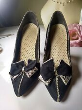 Stunning Rare! Vintage Womens 1940s-1950s Black Suede Heels with Bows 6.5