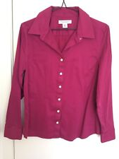 Banana Republic Women Dark Pink Cotton Long Sleeves Business Shirt Size 10