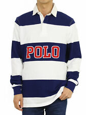 Polo Ralph Lauren Mens Blue White Striped Rugby Shirt Size XL