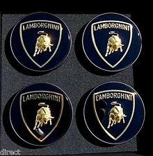 Set 4 New Original Genuine OEM Factory Lamborghini Gold Bull Wheel CENTER CAPS