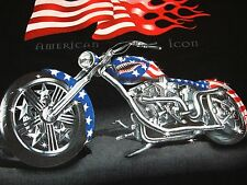 Mens T-Shirt 3XL Motorcycle Hog Shark Red White Blue US Flag Made USA