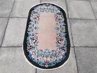 Antique Hand Made Art Deco Oriental Black Pink Wool Chinese Oval Rug 138x79cm