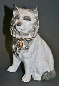 """antique 6"""" german china pocelain dog candy container , decoration for your dolls"""
