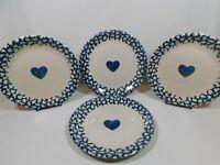 "4 HEARTS Folkcraft by Tienshan Spongeware Dinner Plates 10.25"""