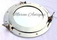 """Aluminium 15"""" Ship Porthole Window Mirror Antique Nautical Round Wall Porthole"""