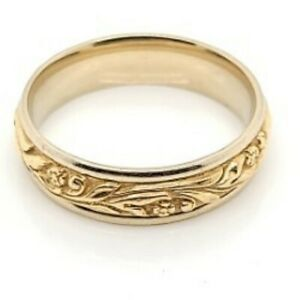 6mm Carved 14K Two Tone Gold Mens Wedding Band Ring (DG6006189)