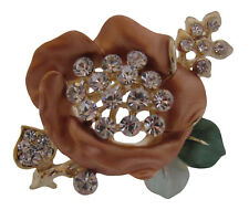 Enamel and Crystal Gold Plated Flower Brooch / Brooch Bouquet / Wedding Cake