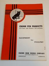 Crown Pen Products Bird & Animal Enclosures  Equipment for Poultry 1941 Catalog