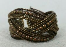 Bronze Brown Beaded Criss Crossed Costume Jewellery Prop One Size Stretch Cuff