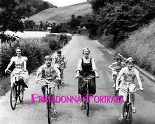 """JULIE ANDREWS & VON TRAPP KIDS 8X10 Lab Photo 1965 """"Sound of Music"""" Bicycle"""