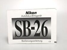 Nikon SB-26 Autofokus-Blitzgerät Bedienungsanleitung