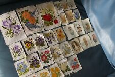 ANTIQUE/VINTAGE 30 Cigarette silks WOVEN SILK FLOWERS PRINTED CERAMICS VASES POR