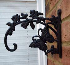 Cast Iron Butterfly Hanging Basket Bracket Hook Garden Ornament New Metal