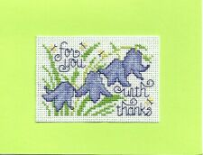 Completed Finished Cross Stitch Card - With Thanks