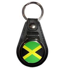 Jamaica Flag - Chrome Medallion Black Faux Leather Key Ring New