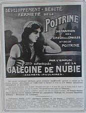 PUBLICITE GALEGINE DE NUBIE DEVELOPPEMENT FERMETE DE LA POITRINE 1910 FRENCH AD