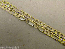 Men's Lady's Yellow Gold Plated Figaro Necklace Chain 30in Inch Long 4mm Wide
