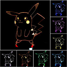 Pokemon GO Pocket Monster Pikachu 3D LED Night Light 7Color TouchDesk Table Lam&