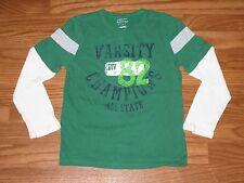 Sonoma Life & Style Boys Size XL 7x Long Sleeve Shirt Green Varsity Champ EUC