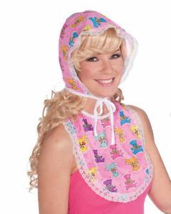 Baby Girl Kit Pink Bonnet Bib Costume Adult Womens Accessory Set