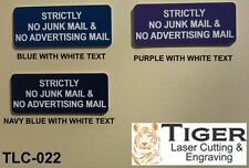 STRICTLY NO JUNK MAIL & NO ADVERTISING MAIL-NAVY BLUE/WHITE-10CM X 4.5CM TLC-022