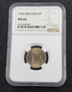 1966 Ireland 6d Six Pence Eire Ruel NGC MS66 Gem