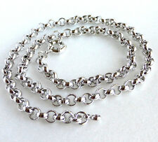 """Mens Big Long Chain 60cm 23.5"""" White Gold Plated Chunky Heavy Circle Necklace UK"""