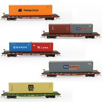 HO Scale 52ft Flat Car 1:87 Flatbed Car with Shipping Container Freight Car Lot