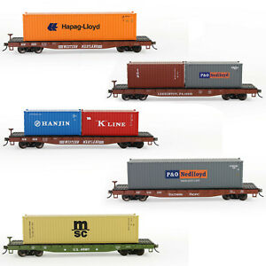 HO Scale 1:87 52ft Flat Car with 40ft Shipping Container Freight Car Lot