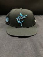 MIAMI MARLINS TEAM ISSUED BLACK NEW ERA BRAND NEW FITTED HAT