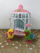 Little Live Pets Lot Of 2 Birds and Cage Tested Works