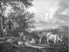 GRAVURE ANCIENNE 19e -  ANIMAUX DANS LE PRE