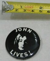 VINTAGE JOHN LENNON JOHN LIVES!  PIN BACK BUTTON BADGE EMI