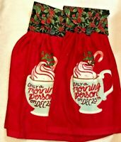 Choice Set of 2 NEW handmade cloth top hanging kitchen towels Christmas themes
