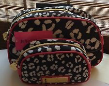 NWT Betsey Johnson Black White Cheetah 2 Pc Large Dome Makeup Bag Cosmetic